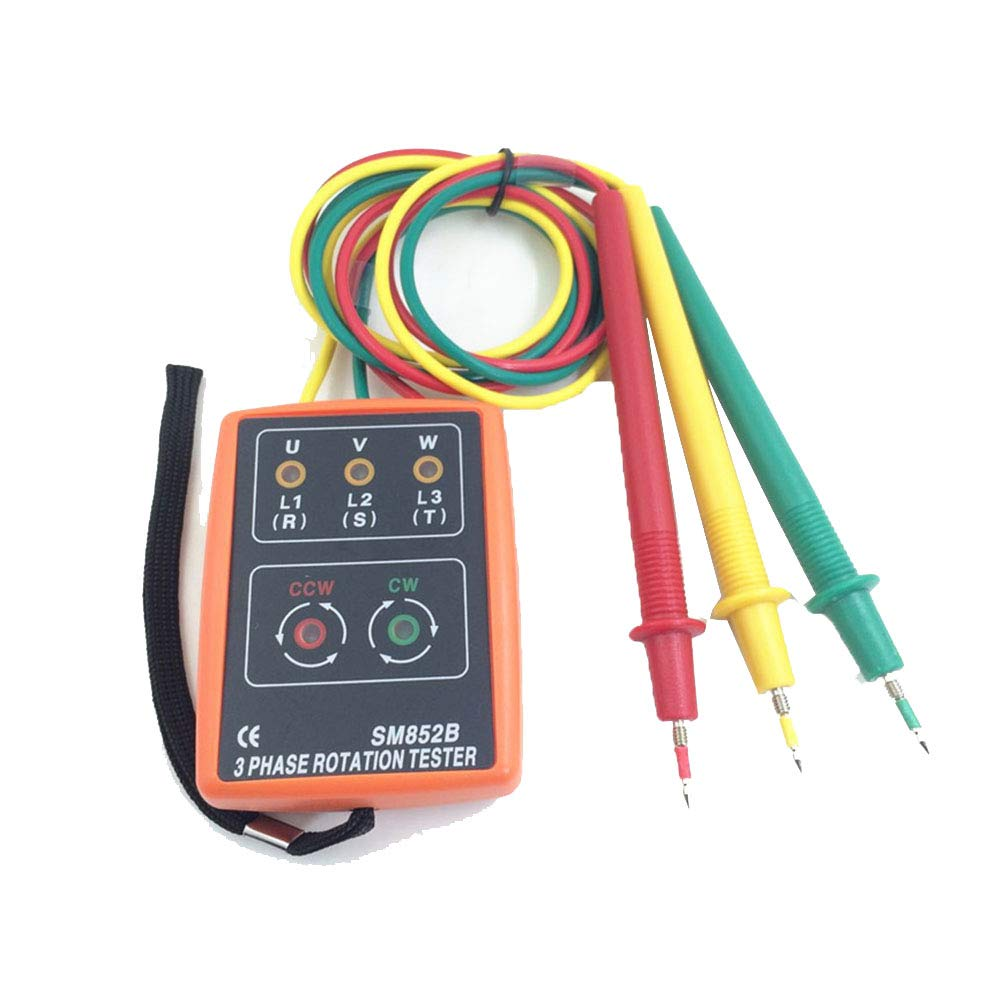 with Frequency Range 20 to 400Hz Phase Rotation Indicator Detector Meter 3 Phase AC SM852B Portable 3 Phase Sequence Rotation Tester LED Indicator and Buzzer 60 to 600V
