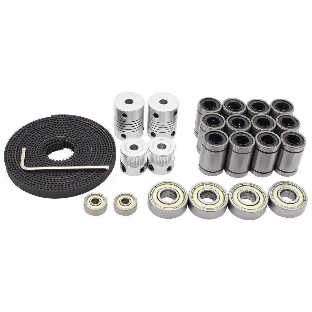 Redrex 3D Printer Movement Kits for Reprap Prusa i3 Motor Shaft Coupler + GT2 Timing Belt + 20T Timing Pulley + 608zz Bearing + LM8UU Linear Bearing + 624zz Bearing