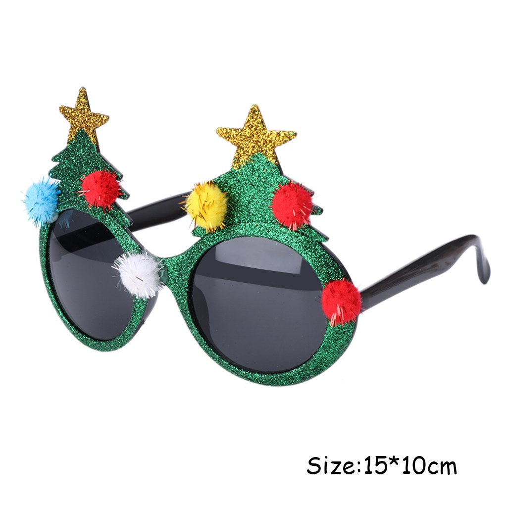 Doober Glitter Christmas Tree Sunglasses Glasses Fancy Dress Party Xmas Decor Gift