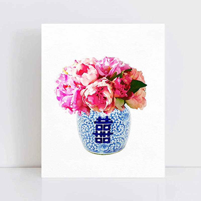 Blue and white Chinoiserie Vase Artwork Print Willow Style Poster Watercolour Pastel Painting Chinese Bone China Wall Decor DIGITAL DOWNLOAD