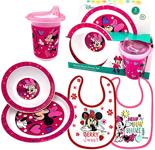 Disney Minnie Baby Toddler Utensil Dinnerware Feeding Dish Gift Set Box including Break Resistant Bowl, Dish Plate, Tumbler Cup and Baby Bibs – Safe BPA free, Easy to Clean, Perfect Gifts for Kids