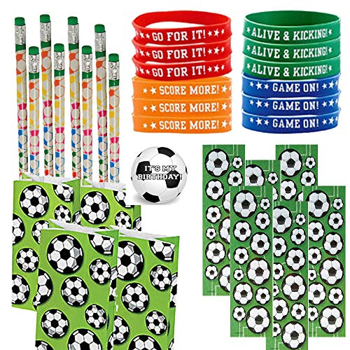 Soccer Party Favors for 24 - Soccer Pencils (24), Soccer Wrist Bands (24), Soccer Sticker Sheets (24), Soccer Theme Gift Bags (24) and Happy Birthday Sticker (Total 97 Pieces) (green/white soccer bag)