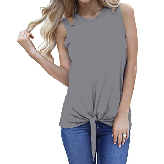 Tank Tops, FORUU Women Casual Summer Sexy Solid Plain Cut Tie Front Crop Camis