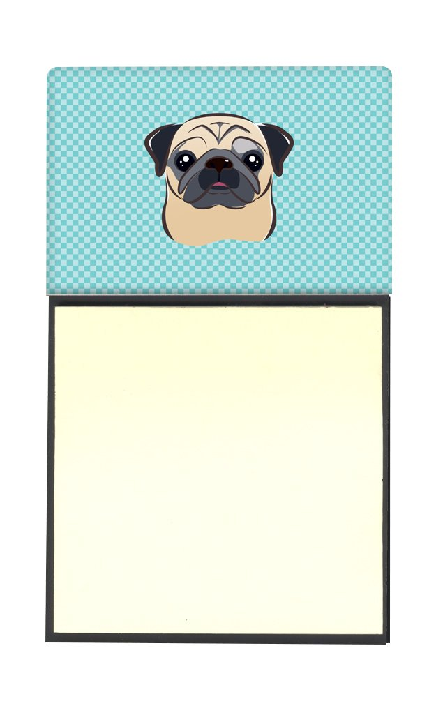 Caroline's Treasures Checkerboard Blue Fawn Pug Refillable Sticky Note Holder or Postit Note Dispenser, 3.25 by 5.5'', Multicolor by Caroline's Treasures