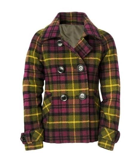 Amazon.com  Aeropostale Womens Plaid Pea Coat Purple S - Juniors ... c1b55d44cd1a