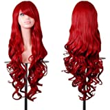 Rbenxia Curly Cosplay Wig Long Hair Heat Resistant Spiral Costume Wigs Anime Fashion Wavy Curly Cosplay Daily Party Red…