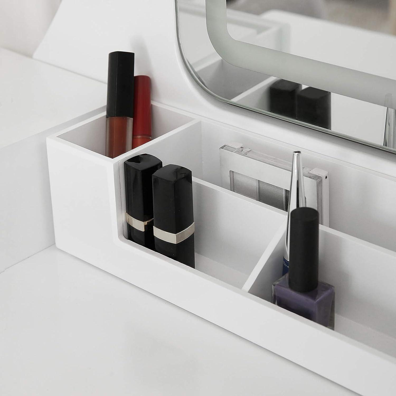 Kosmetiktisch mit abnehmbarem Make-up-Organizer VASAGLE Schminktisch mit LED-Beleuchtung in 3 Farben Frisierkommode mit gepolstertem Hocker Frisiertisch mit Spiegel und 5 Schubladen wei/ß RDT25WL