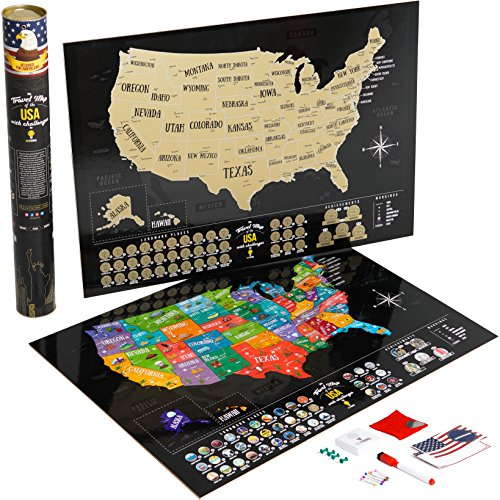 Usa   Scratch Off Laminated Us Map Poster With Associations   Landmarks   Track Your Travels   18 5 X 26 77In   By Outformal