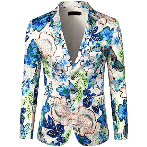 - Blazer Jackets for Men Slim Fit Single One Button Casual One Button Blazer Jacket Dress Floral Suit Notched Lapel Stylish Blazer Coat (XXL,5#White)