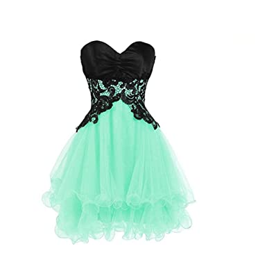 Babygirls Evening Dresses with Short Sweetheart Lace Strapless Sleeveless Knee Length Dress for Formal Occasions Mint