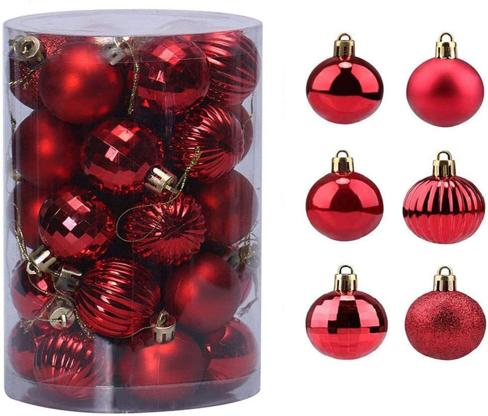 Bolas de Navidad 34 Piezas Bolas para árbol de Navidad Adornos Pared Colgante de Inastillable Decoraciones Árbol Bolas Decorativas Boda de Fiesta Hogar decoración para Vacaciones Ø4-6cm (Rojo, 6CM)
