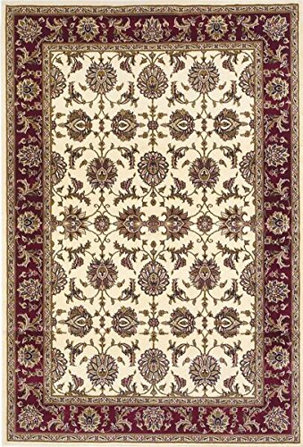 Kas 7312 Cambridge 3-Feet 3-Inch by 4-Feet 11-Inch Rug, Ivory/Red Kashan (Ivory Red Octagon Rug)