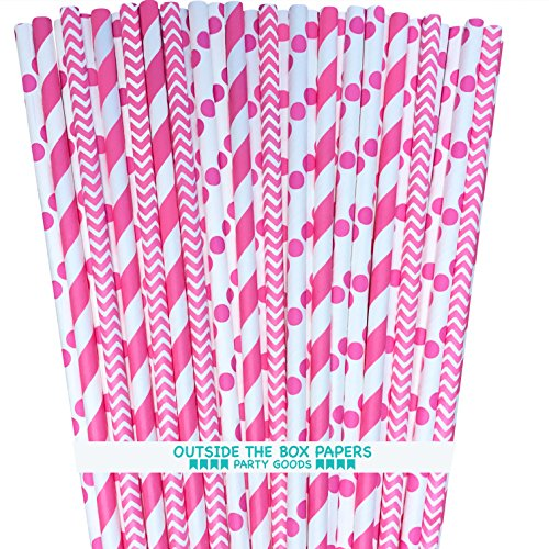 Paper Straws - Pink White - Stripe Chevron Polka Dot - 7.75 Inches - 100 Pack - Outside the Box Papers Brand ()