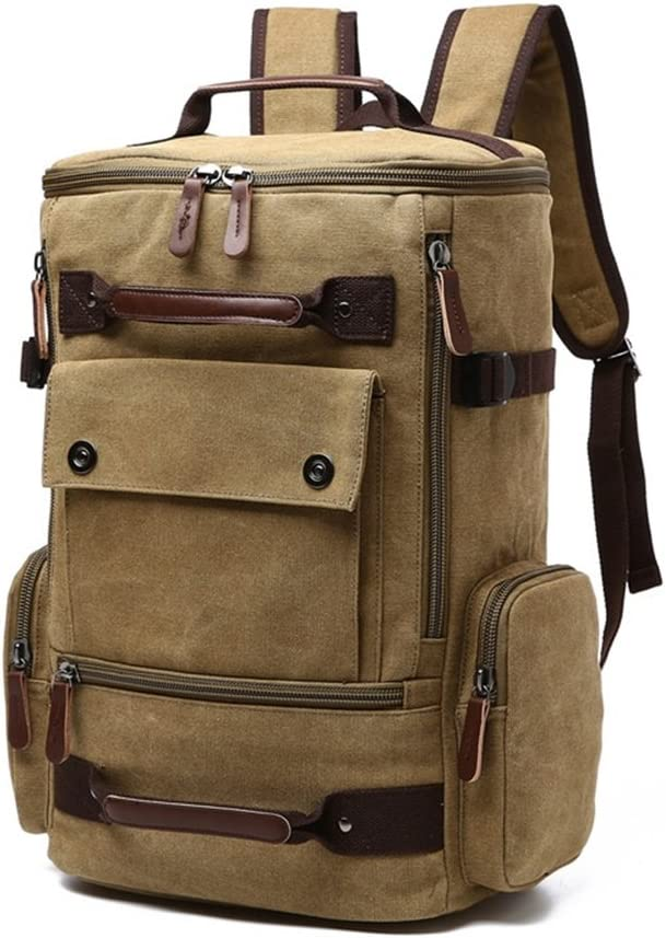 LHQ-Camera Bag Durable Backpack Daypack Waterproof Vintage Zipper Canvas Outdoor Hiking Climbing Camera Bag Color : Gray