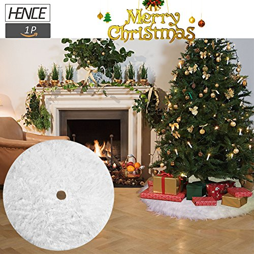 Christmas Tree Skirts Holiday Faux Fur Tree Ornaments Decoration for Merry Christmas New Year Party Decor Snowy White (78cm/30.7