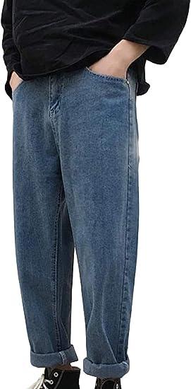(BaLuoTe)メンズ デニムパンツ 秋 冬 ロングパンツ ストレート ワイド ストレッチ パンツ ファスナー ジーンズ メンズ ファッション カジュアル パンツ