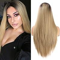 Ombre Blond peruki dla kobiet Naturalnie wyglądające proste syntetyczne włosy Peruka z przedziałkiem w połowie Ręcznie…