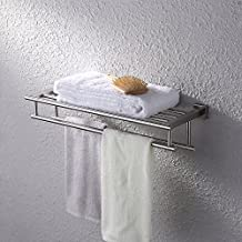 KES A2112-2 Stainless Steel Bath Towel Bathroom Shelf with Two Wall Mounted Towel Bars 60 cm Storage, Brushed Steel