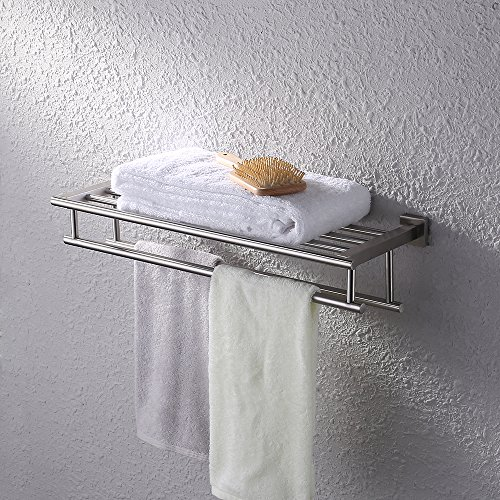 Kes Bathroom Bath Towel Rack with Double Towel Bar 24-Inch Wall Mount Shelf Rustproof Stainless Steel Brushed Finish