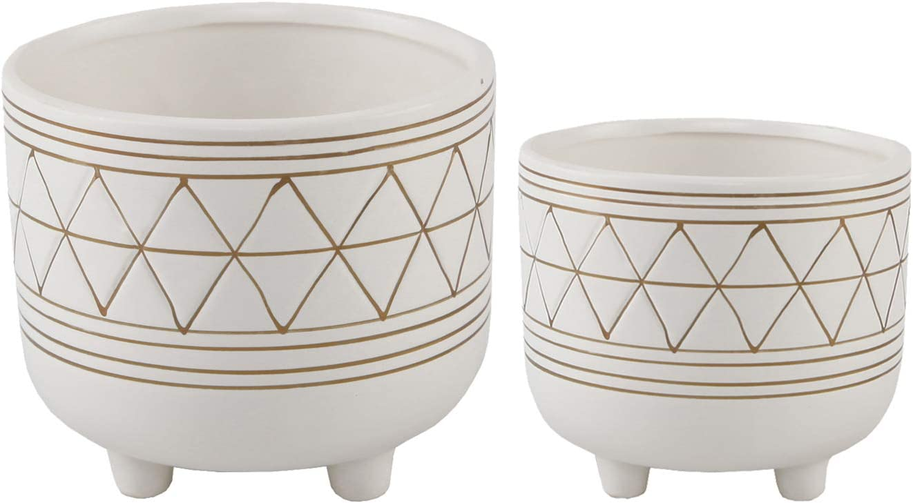 Flora Bunda Mid Century Set of 2 Geometric Planter 6 Inch W 5 Inch W Ceramic Planter Pot with Legs, White and Gold Line Planter