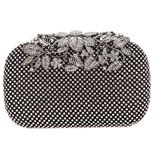 Crystal Rhinestones Bags Clutch Flower Evening with Black Purses Bonjanvye Red HxawqTC