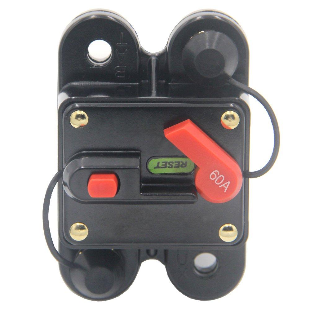 Amazon.com: ZOOKOTO 60Amp Circuit Breaker, Trolling Motor Auto Car Marine  Boat Bike Stereo Audio Inline Fuse Inverter with Manual Reset 12V-24V DC  (60A): ...