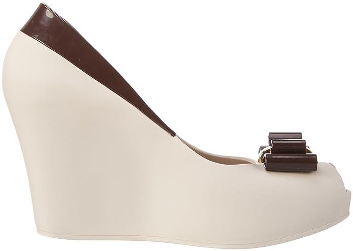 Melissa Queen Wedge 16 - Zapatos Mujer, Beige (Beige/Burgundy 52793), 38