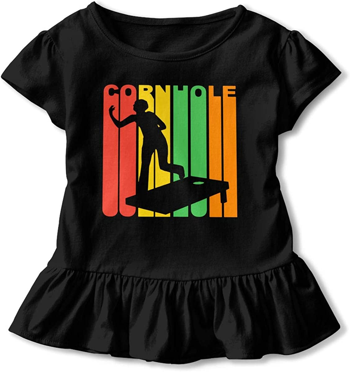 TS938S 1970s Style Cornhole Funny Ruffle Cotton Tops Tee Clothes Graphic for Little Girls Gift