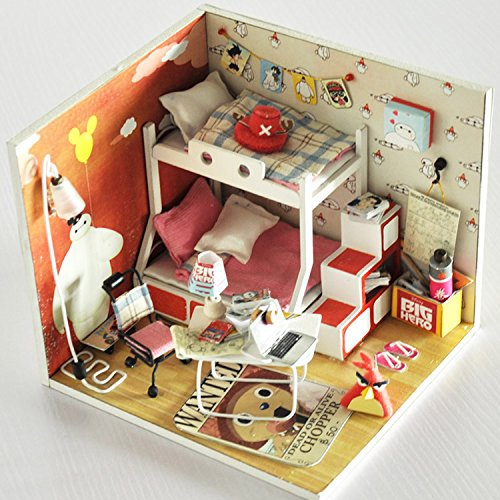Doll Handmade Furniture - Cuteroom Dollhouse Miniature DIY Dolls House Room Kit with Furniture+Cover Handmade Gift Toy Baymax Park