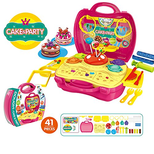Grown Ups 2 Party Costumes (Rumfo Party Kits Kid's In Suitcase 41 Pcs Pretend Play Toy Kit with Dough and Moulds in a Portable Case - for Children 3 Years or Up)