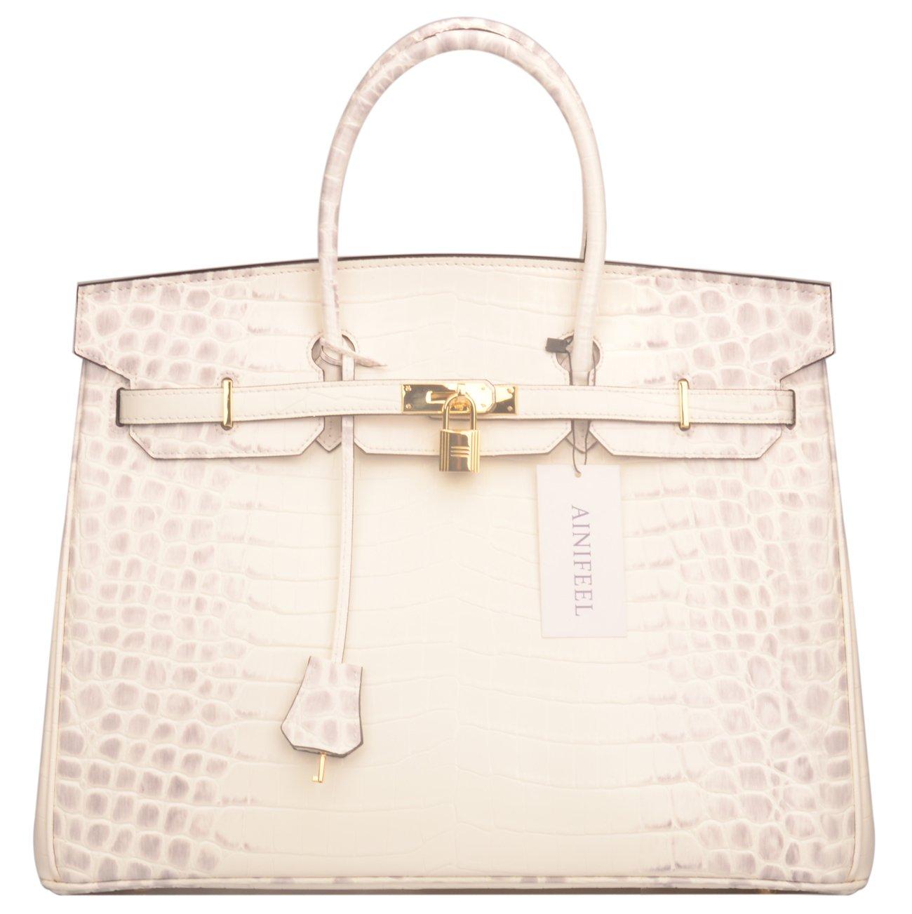 Ainifeel 40cm Oversized Patent Leather Padlock Handbag Business Purse (40cm OVERSIZE, Himalayan) by Ainifeel (Image #2)