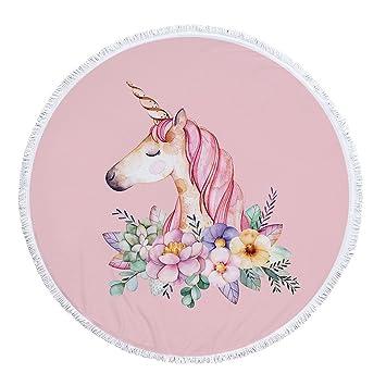 nettes Caricatura arco iris Unicornio Unicornio Toalla con borlas redondos con flores de impresión Negro playa