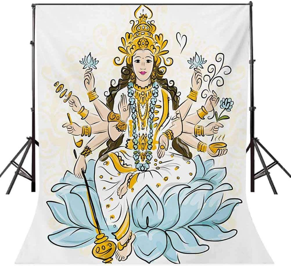 8x10 FT Photo Backdrops,Sketch of Figure with Lotus Flowers Blessing Culture Artwork Background for Child Baby Shower Photo Vinyl Studio Prop Photobooth Photoshoot Pale Blue Marigold White