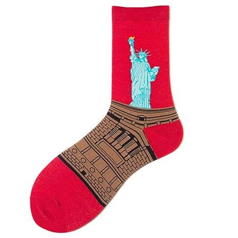 Junlinto Mujeres Hombres Niñas Invierno Otoño Retro Calcetines Largos Algodón Figura Pintura Casual 5