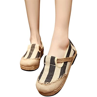 ACE SHOCK Loafer Flats Women Slip-on, Casual Moccasins Stripe Cotton Linen Driving Penny Shoes