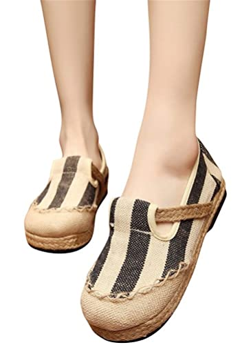ACE SHOCK Loafer Flats Women Slip-on, Casual Moccasins Stripe Cotton Linen Driving Penny