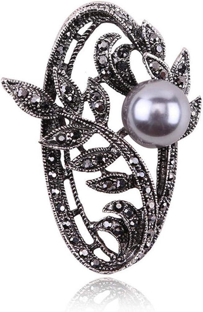 BJINUIY Broche Pins Ramillete de Perno, Vintage Floral Perla de imitación Party Camisa Collar Accesorios Broche