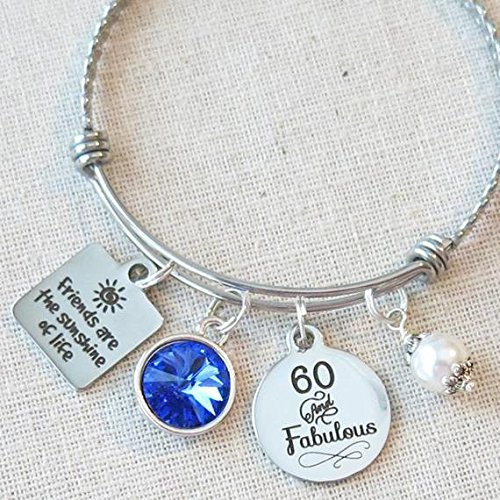 60th BIRTHDAY Gift For Her Milestone Birthday Gifts Friend 60 And Fabulous Sapphire