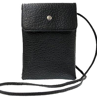 Donalworld Women Mini Double Layer Phone Bag PU Leather Shoulder Bag Mobile  Pouch Black 39250c5f96