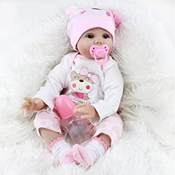 5c5e9316143 Amazon.com   Forgun Pinky Soft Vinyl Silicone 22inch Real Life Like Reborn  Baby Doll Realistic Newborn Dolls Girl Toy Magnet Pacifier Xmas Gift   Baby
