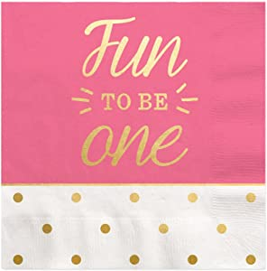 Big Dot of Happiness Fun to be One - 1st Birthday Girl with Gold Foil - Cocktail Beverage Napkins (16 Count)