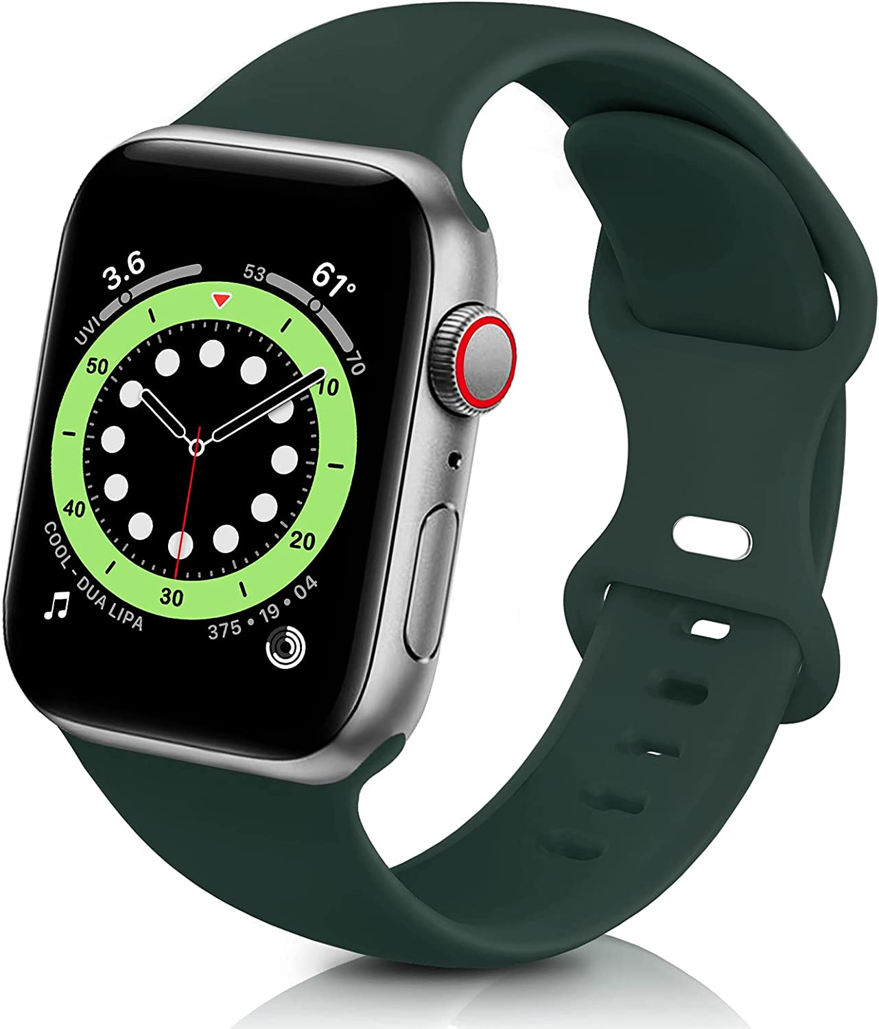 ZALAVER Bands Compatible with Apple Watch Band 38mm 40mm 42mm 44mm, Soft Silicone Sport Replacement Band Compatible with iWatch Series 6 5 4 3 2 1 Women Men Olive 38mm/40mm S/M