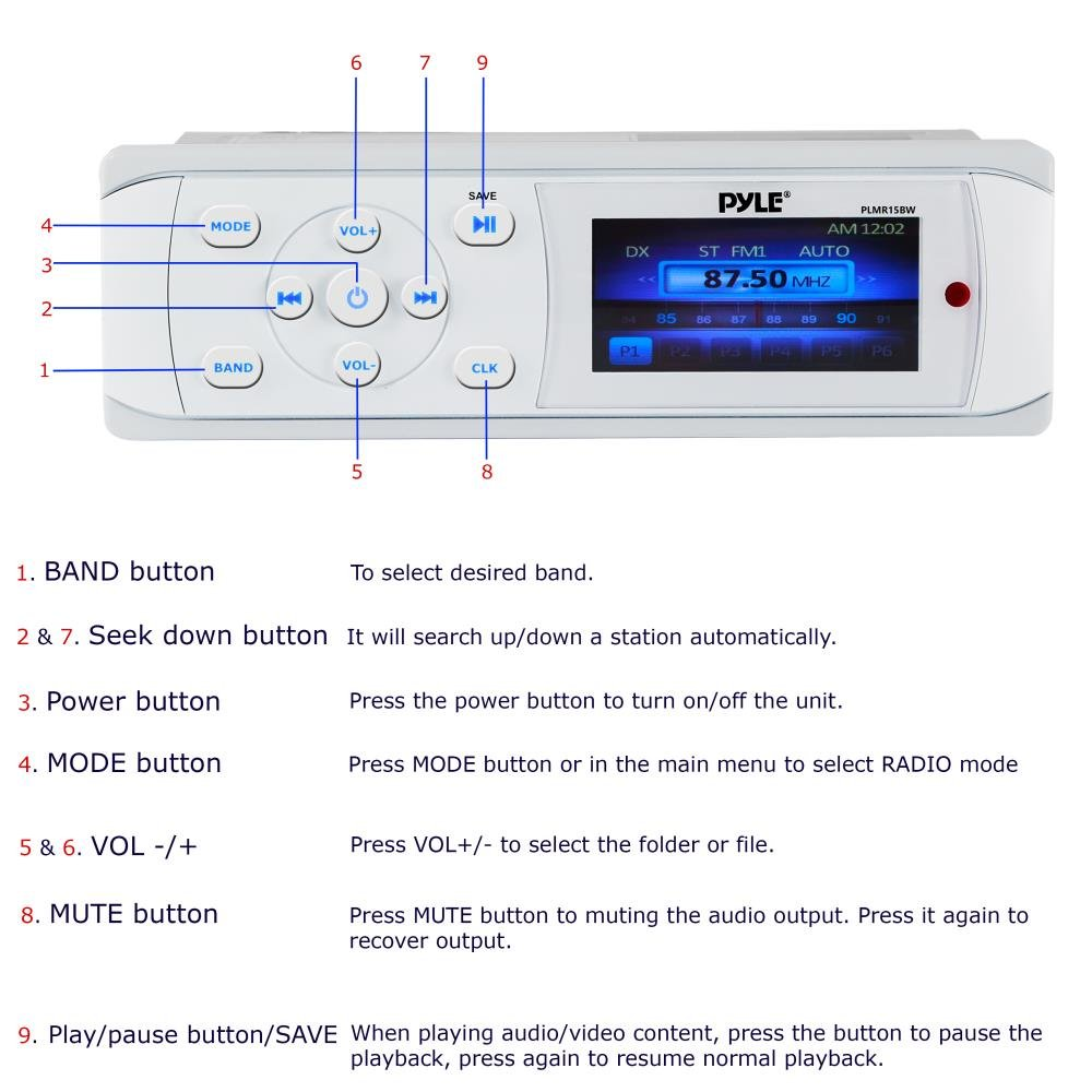 Pyle Bluetooth Marine Stereo Radio - Waterproof/Weather proof Single DIN 12v Boat Receiver with Digital Color LCD, RCA, MP3/USB, AM FM Radio - Wiring Harness, Remote Control - PLMR15BW (White) by Pyle (Image #7)