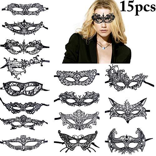 (Coxeer 15 PCS Black Lace Mask Masquerade Mask Party Ball Dress Masks Costume Halloween Mask (15)