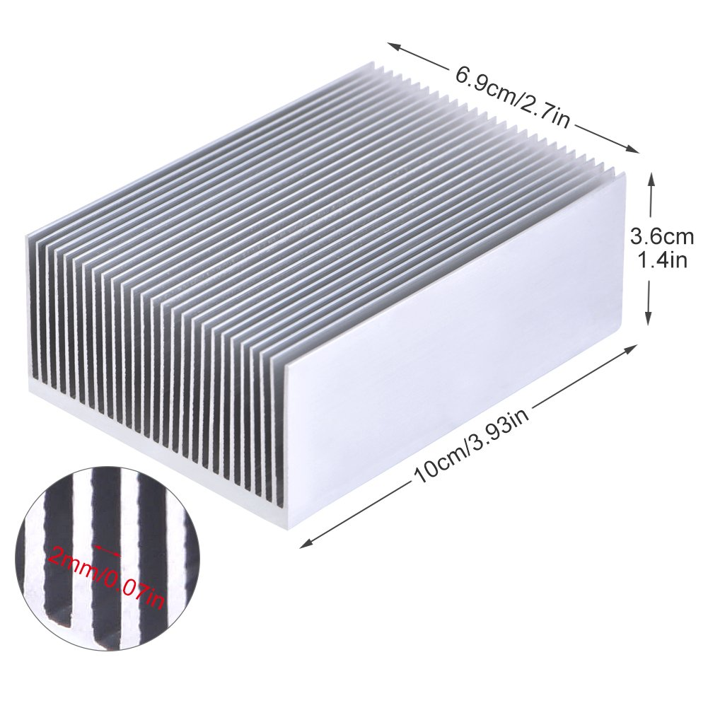 1 Set Aluminum Heat Sink Cooling Fin Cooler For Led Amplifier Transistor IC Module Or Computer,100(L)x 69(W) x 36 mm(H) by Hilitand (Image #2)