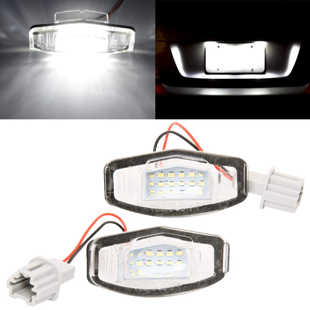 GTP LED License Plate Light Assembly Replacement For Acura MDX RL TL TSX ILX Honda Civic Accord Odyssey Error-Free 18-SMD LED 6000K Xenon White