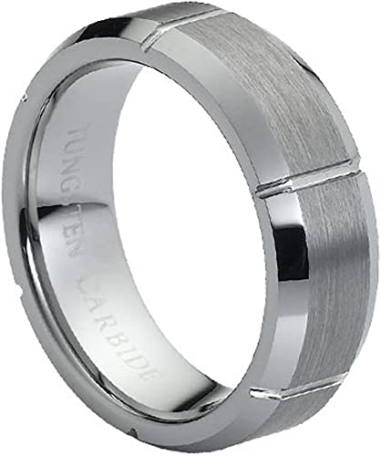 Beveled Edge Tungsten Anniversary Ring 7mm Multi-Grooved Tungsten Wedding Band Brushed Finish Comfort Fit Tungsten Carbide Ring