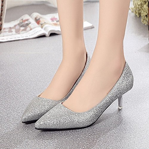 Carolbar Mujer's Pointed Toe Lentejuelas Scarpin Stilettos Bombas Zapatos De Vestir De Plata