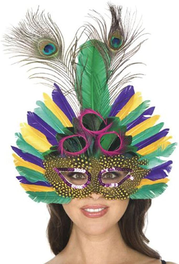 Peacock Mask ~ Feather Masquerade Ball Accessory ~ Mardi Gras Costume