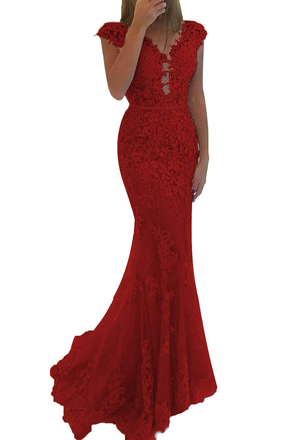 Burgundy Promworld Women's Lace Applique Beaded Mermaid Prom Dress Cap Sleeve Tulle Evening Gowns Formal